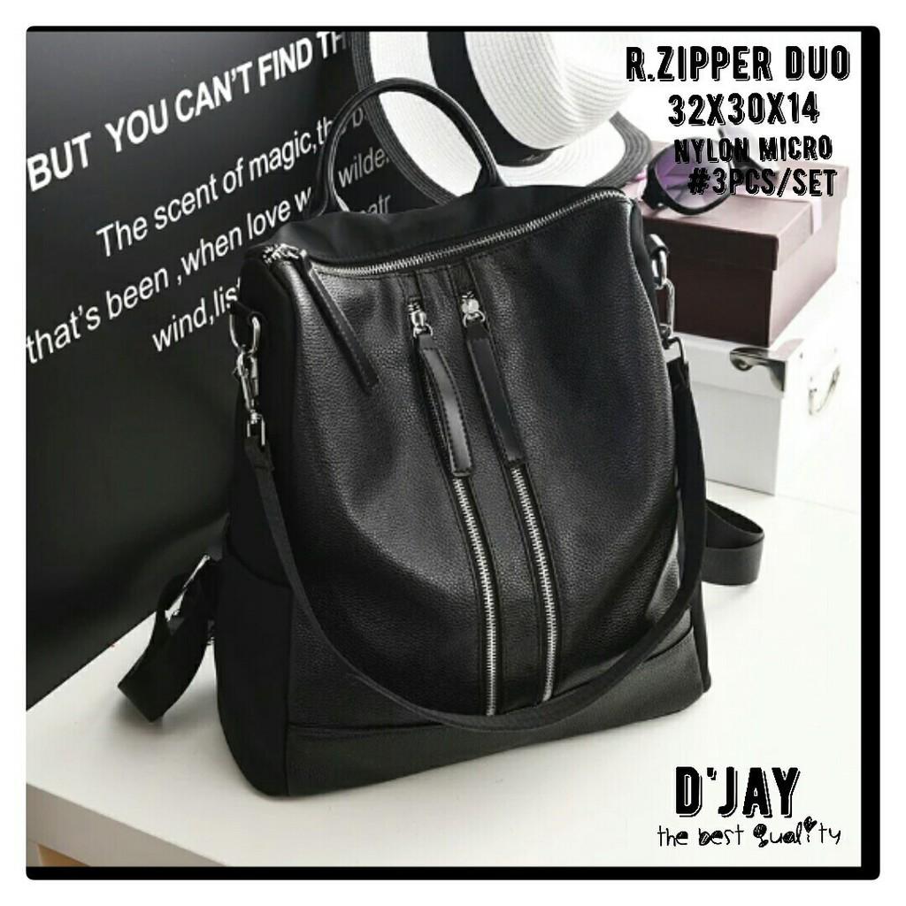 Tas Ransel Wanita Backpack Fashion Sekolah Set 3in1 Kait Nylon Micro Kucir Shopee Indonesia