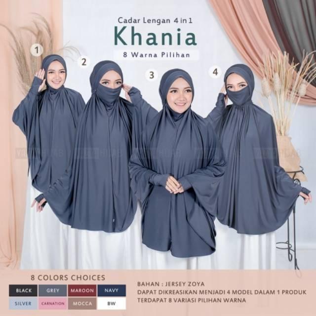 Jilbab Khimar Syari Cadar Lengan Khania 4in1 Hijab Nonpad Jersey Zoya Shopee Indonesia