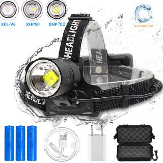 80000LM 5 Head Rechargeable LED 18650 Headlamp Headlight Flashlight Torch Light