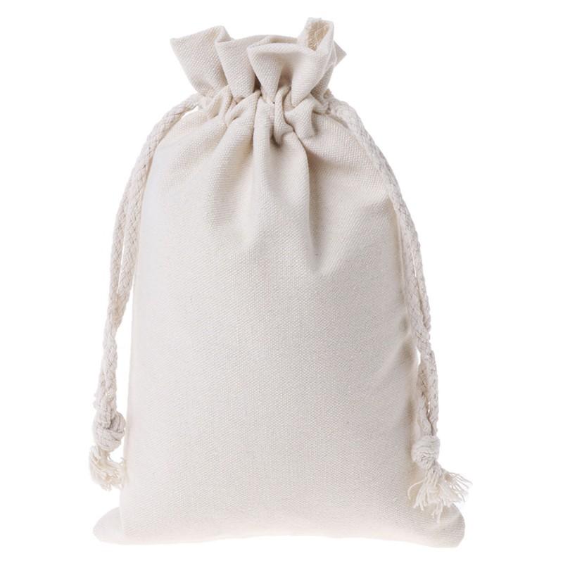 Cotton Linen Drawstring Pouch Stuff Storage Bag Laundry Clothes Finishing Decor