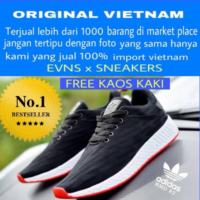 Sepatu Sneakers Lace-Up Unisex Model NMD Warna Hitam Pink  8a022f0e51