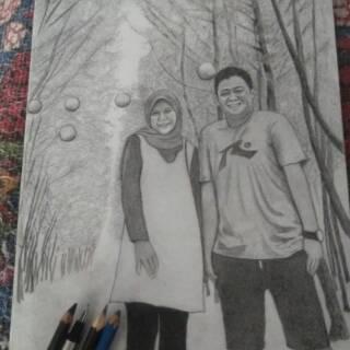 Murah Lukisan Wajah Tiga Wajah Lukisan Hitam Putih Keluarga Sketsa Wajah Untuk 3 Orang Shopee Indonesia