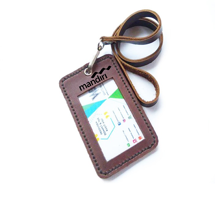 name tag id kulit asli logo bank mandiri warna coklat