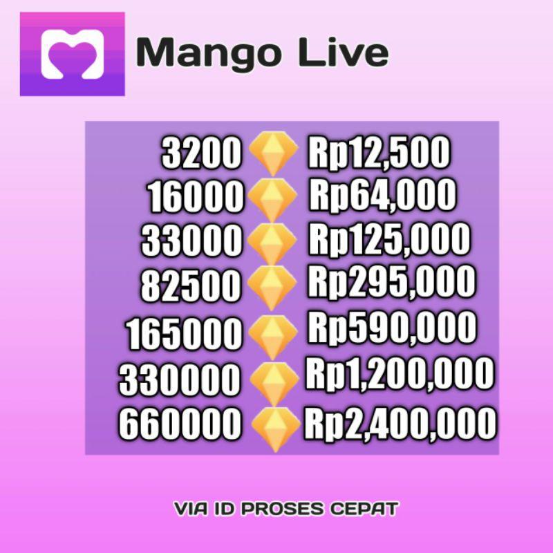 TOP UP MANGO LIVE MURAH 33000 - 82500 DIAMOND TOP UP MANGOLIVE