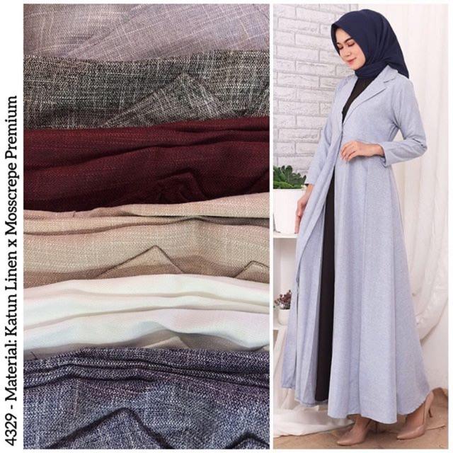 Gamis Blazer Linen Panjang 4329 Shopee Indonesia