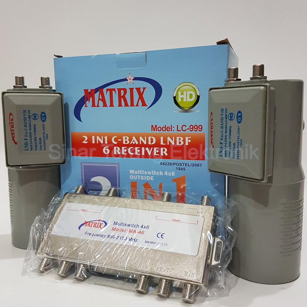 LNB C Band 2 In 1 Kembar Matrix LC-999 (2 Satelit 1 Receiver) | Shopee Indonesia