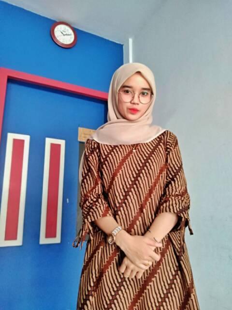Couple Tunik Sogan Serut Genes Apsari Batik Modern Midi Sarimbit Kerja Seragam Kantor Shopee Indonesia