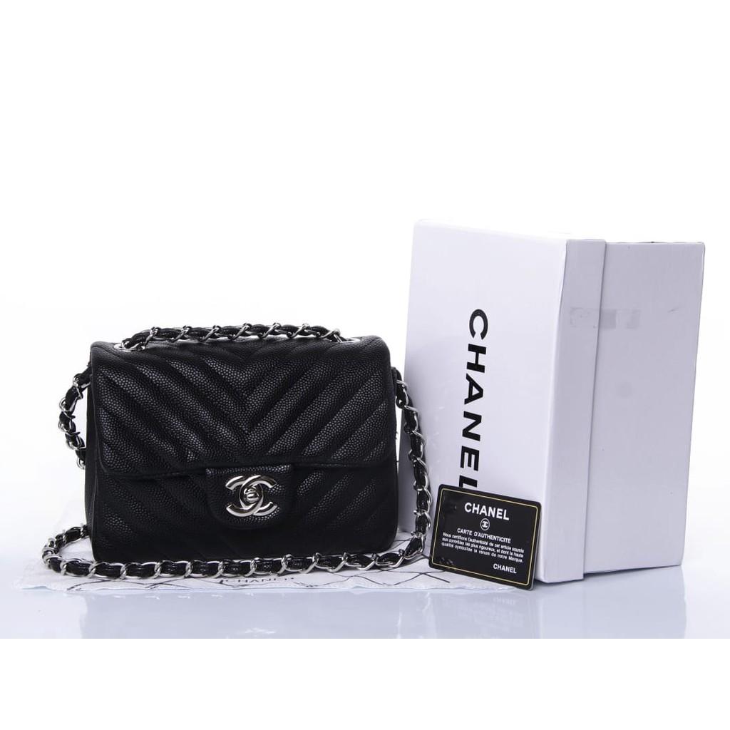 4c7497a28ca6 Tas Chanel Square Chevron Mini Caviar Quilted HITAM Seprem Box 1116 |  Shopee Indonesia