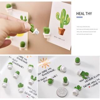 6pcs Stiker Magnet Desain Kartun Kaktus Mini Untuk Dekorasi Kulkas