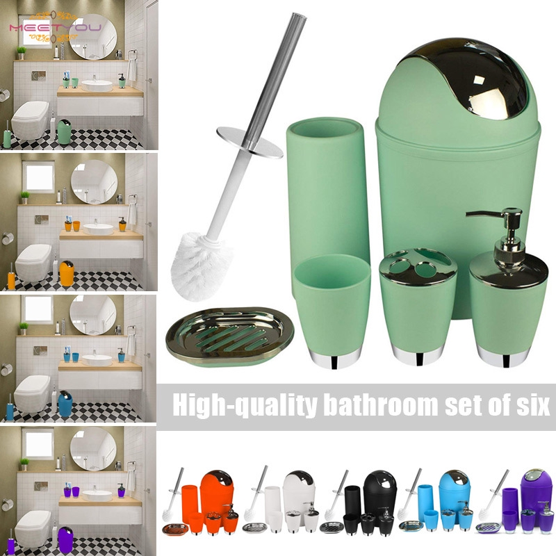 6pcs Bathroom Accessories Set Bath Toilet Brush With Trash Can Toothbrush Holder Soap Tumbler Cup Shopee Indonesia