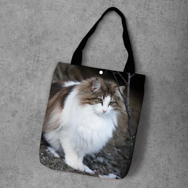 Bm Tas Bahu Belanja Motif Kucing Hutan Norwegia Untuk Wanita Shopee Indonesia