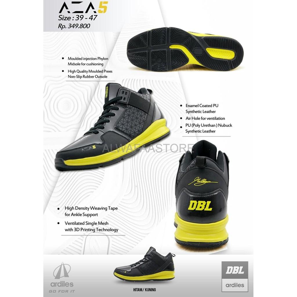 Sepatu Basket Dbl Ardiles Aza5 Aza 5 Limited Edition Original 100 Bramuda Men Running Shoes Hitam 39 Kuning New Shopee Indonesia