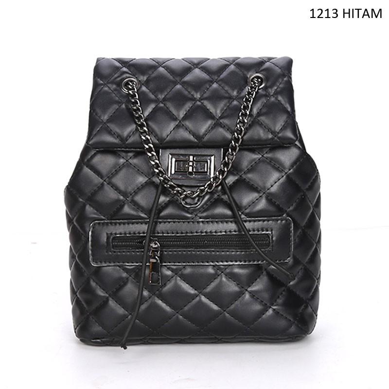 tas ransel backpack sekolah kuliah kantor kerja wanita kulit hitam coklat murah  promo import T261 86484ab43b