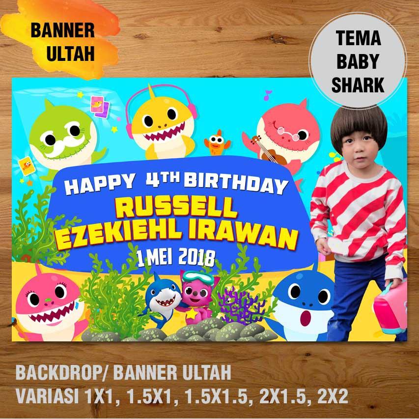 Baby Shark Banner Backdrop Spanduk Ulang Tahun Ul Tah Variasi Ukuran Besar Shopee Indonesia