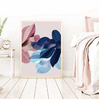 lukisan cat air gambar daun warna pink bahan kanvas untuk