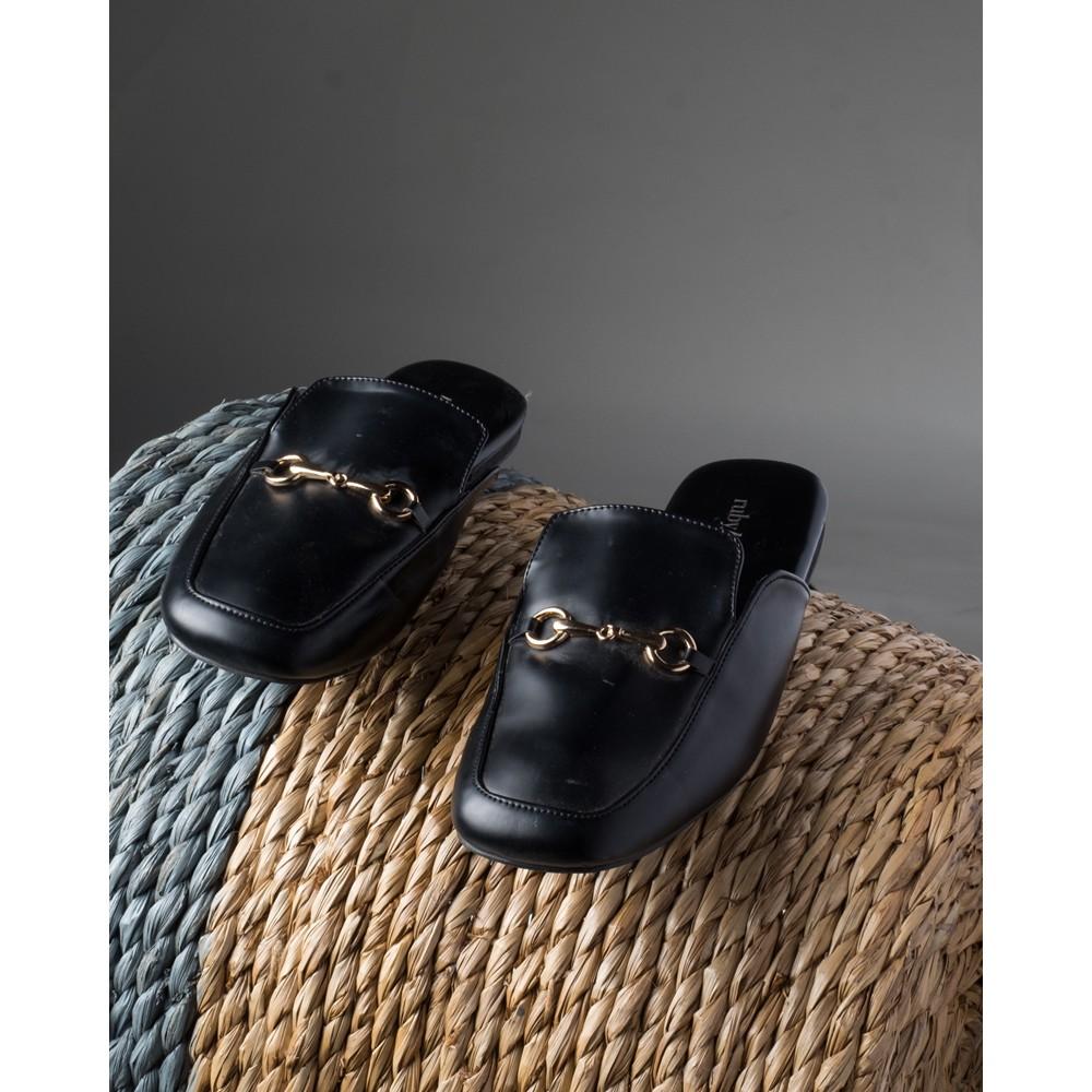 Amazara Maudy Black Mules Shopee Indonesia Cara Maroon Flatshoes Hitam 40