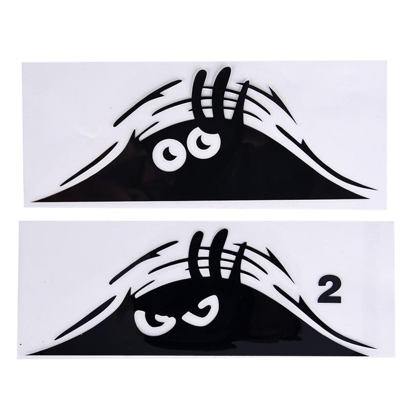 Funny Peeking 3D Big Eyes For JDM Car Bumper Window Vinyl Decal Black Sticker