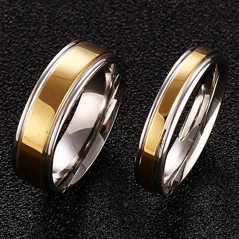 New Luxury 18k Gold Wedding Rings Simple Design Couple Rings 4mm 6mm Width Band Ring For Women And Men Lover Rings 1pcs Shopee Indonesia