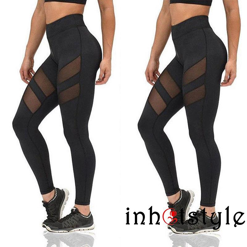 Women Mesh Patchwork Leggings Workout Fitness Legging Slim Jumpsuit Pants Sale