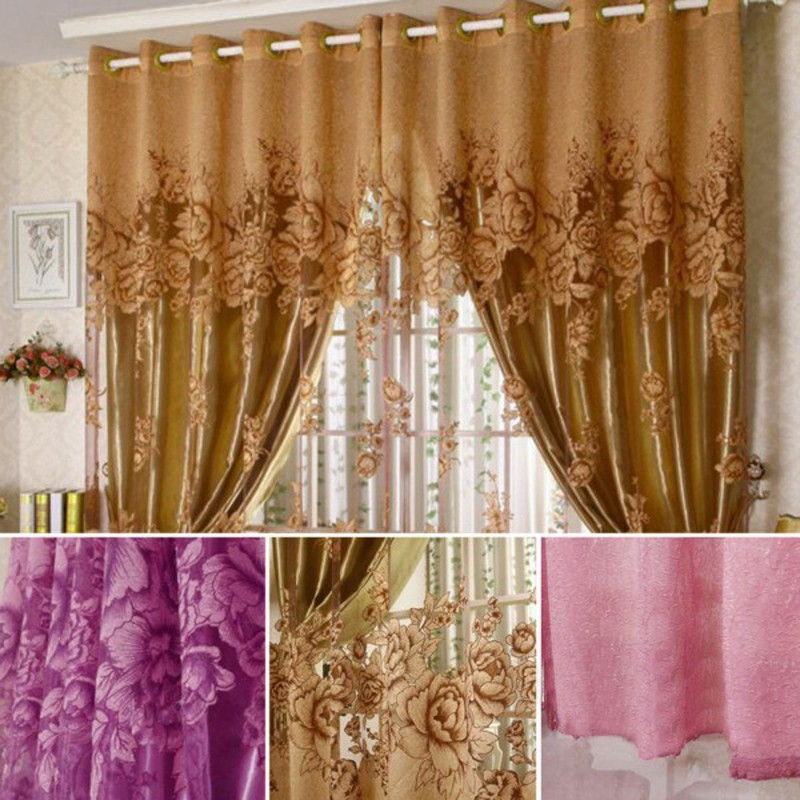 European Peony Pattern Voile Curtains Tulle Sheer Valances Curtains Home Decor Shopee Indonesia