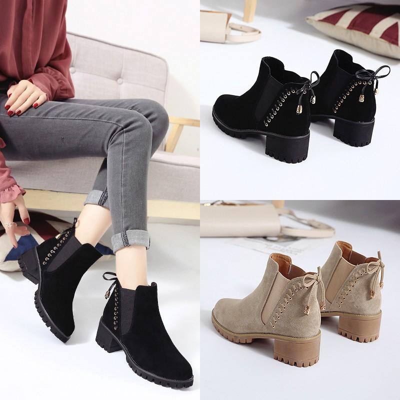 Sepatu Boots Wanita 5cm Chunky Big Heels Ankle Boots Casual Bots