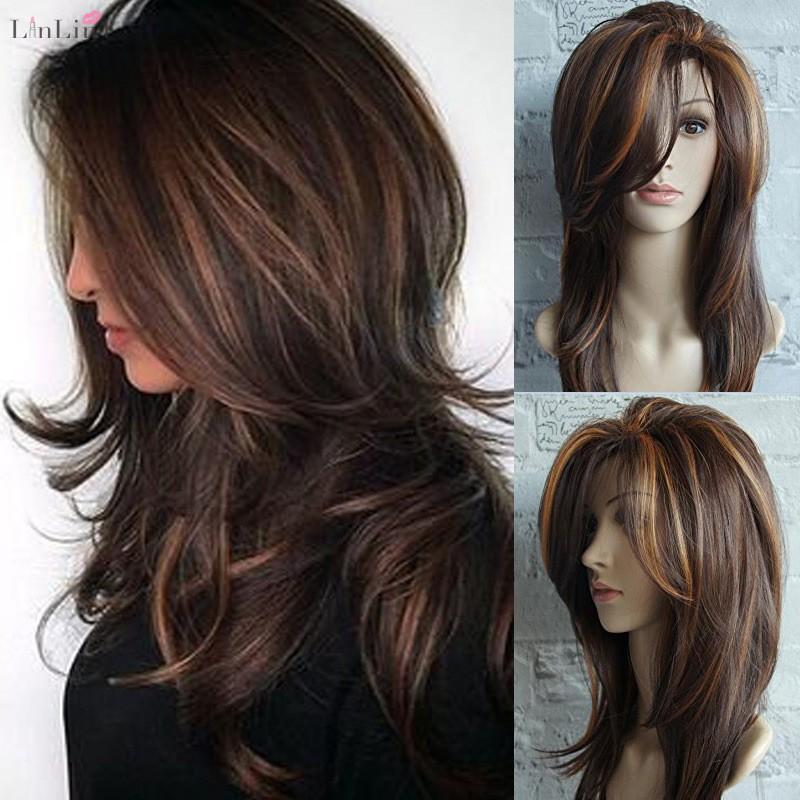 Wig Rambut Palsu Wanita Model Panjang Keriting Gelombang Warna Coklat Untuk Cosplay Shopee Indonesia
