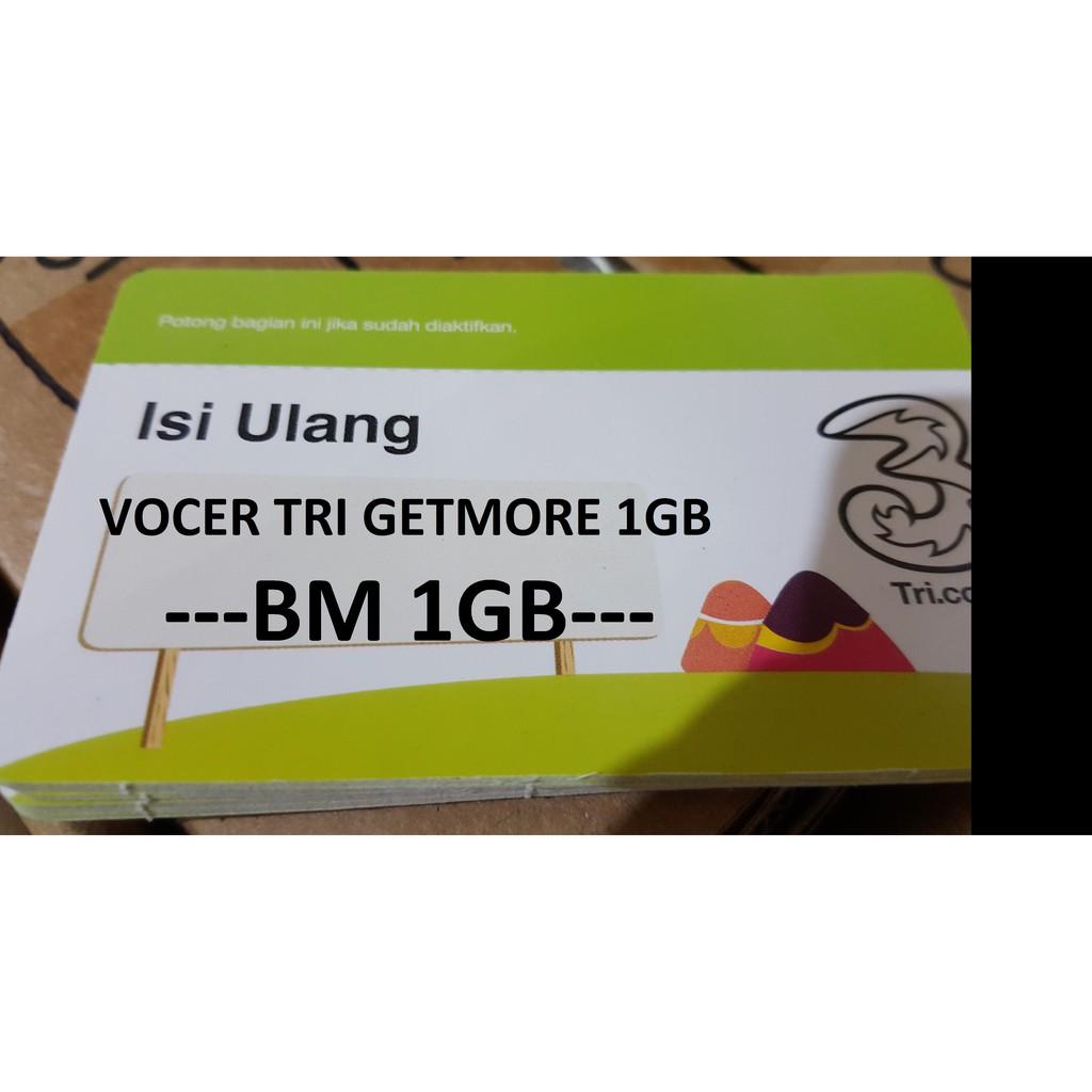 Voucher Tri Bm1 Gb Bm 1gb Total Kuota 15gb Shopee Indonesia Paket Aon 2gb Dan Extra