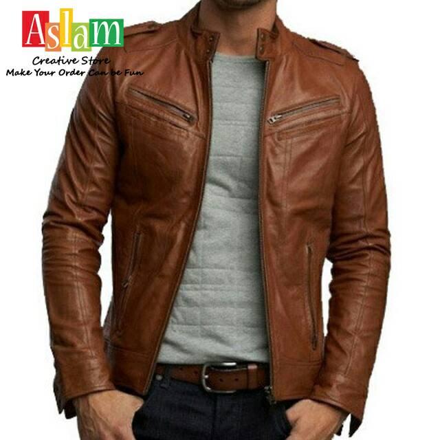 Jaket kulit fashion korea Pria Laki Cowok model korea keren Men Jacket jaket  motor korea size M L XL  8422df9b9f