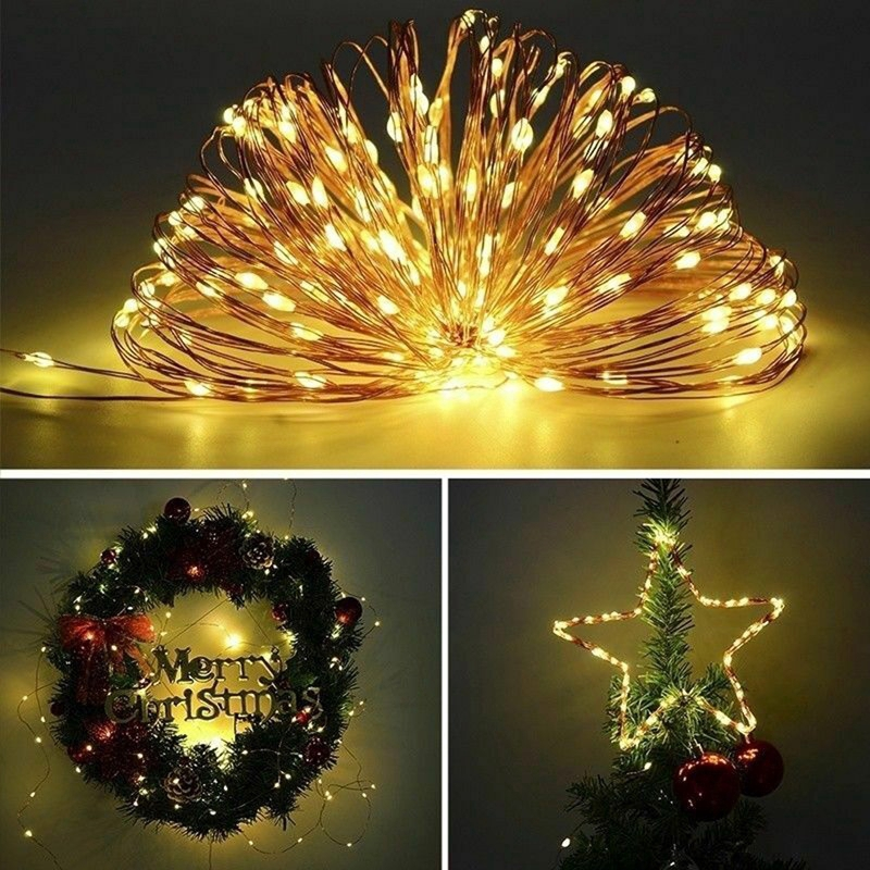 USB 100LED String Copper Wire Fairy Lights Wedding Xmas Party Fairy 8-Mode 10M