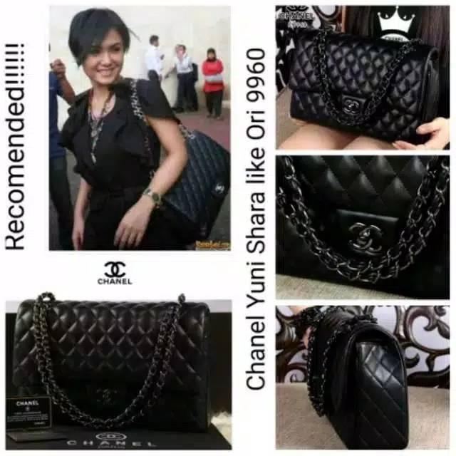 Tas Chanel Yuni Shara Black Hardware Semi Original  40bb3fd39f