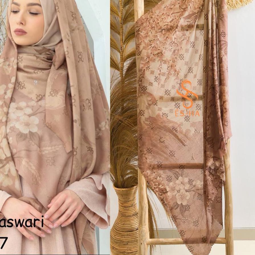 Original  Hijab Segi Empat Motif Termurah / Hijab Lasercut Voal Motif Berkualitas / Denay KW Motif N