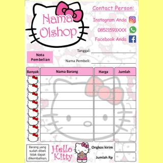 Nota Penjualan Pembelian Custom Toko Olshop Online Shop Karakter Kartun Hello Kitty Lucu Imut Murah