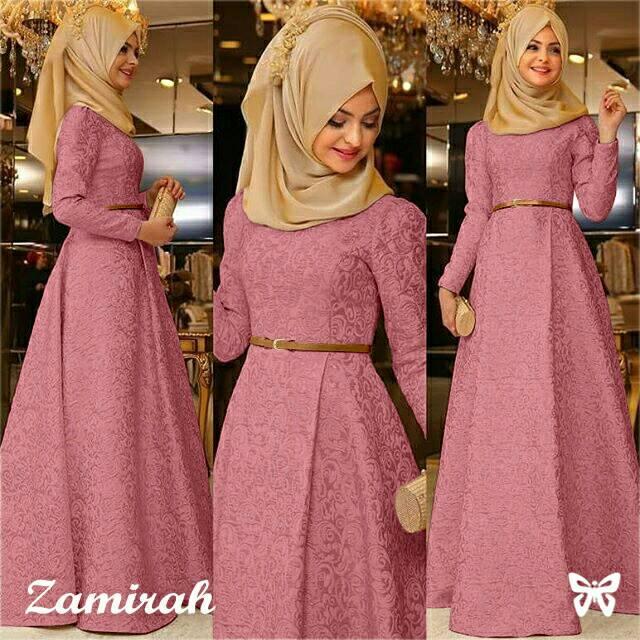 Zamirah Hijab New Arrival Jumbo Hijab Longdress Kebaya Batik Party Dress Murah Wanit