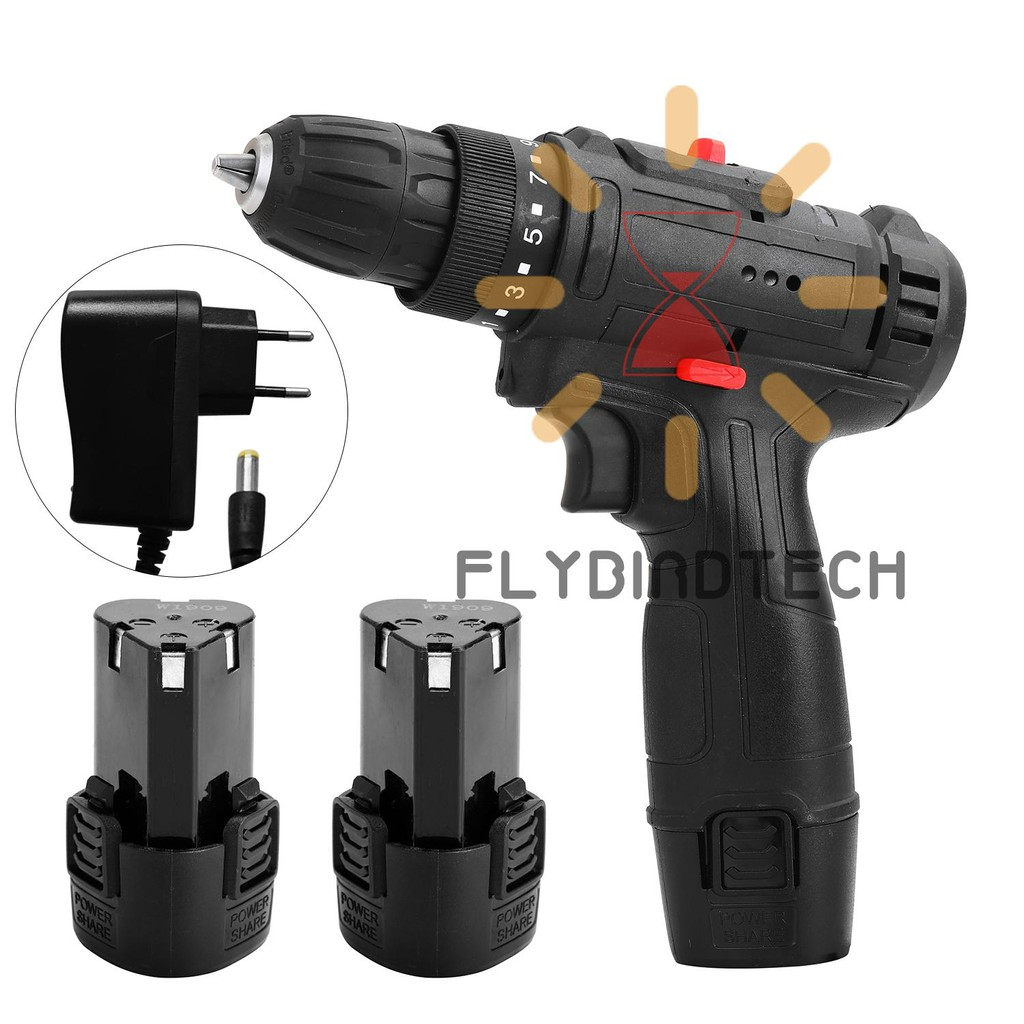 Fly 12v Multifunctional Electric Impact Cordless Drill High Power Lithium Battery Wireless Rechargeable Hand Drills Home Diy Electric Power Tools Shopee Indonesia