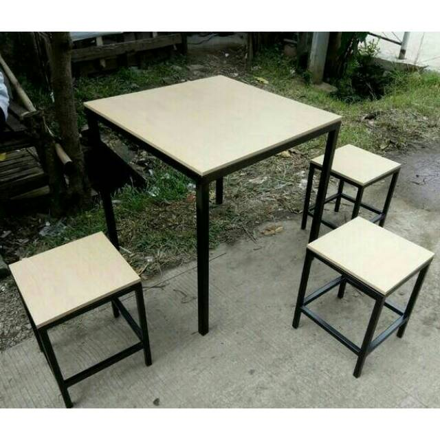 Promo 1 Set 1 Meja 3 Kursi Cafe Minimalis Industrial Meja Makan Simple Meja Santai Shopee Indonesia