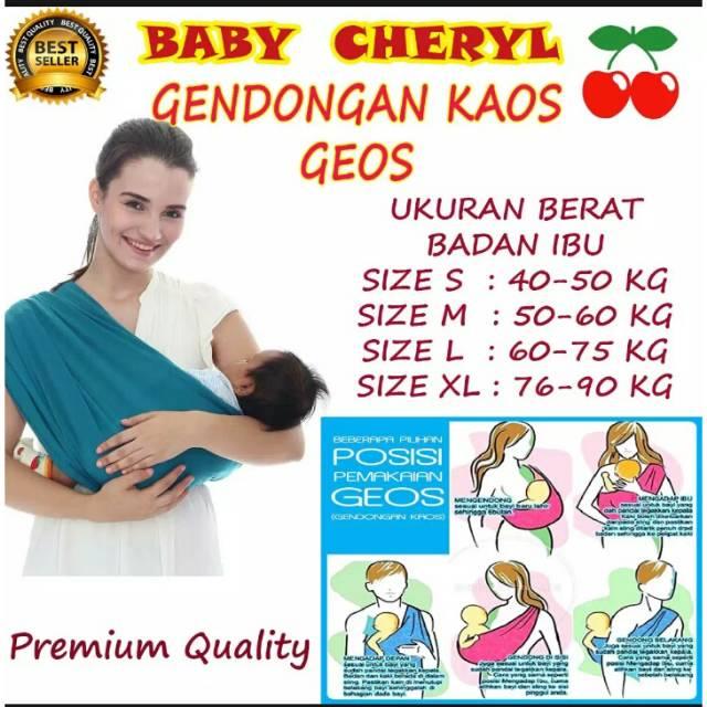 Gendongan Bayi Kaos GEOS Baby Leon Ukuran S dan M dan L dan XL Polos | Shopee Indonesia