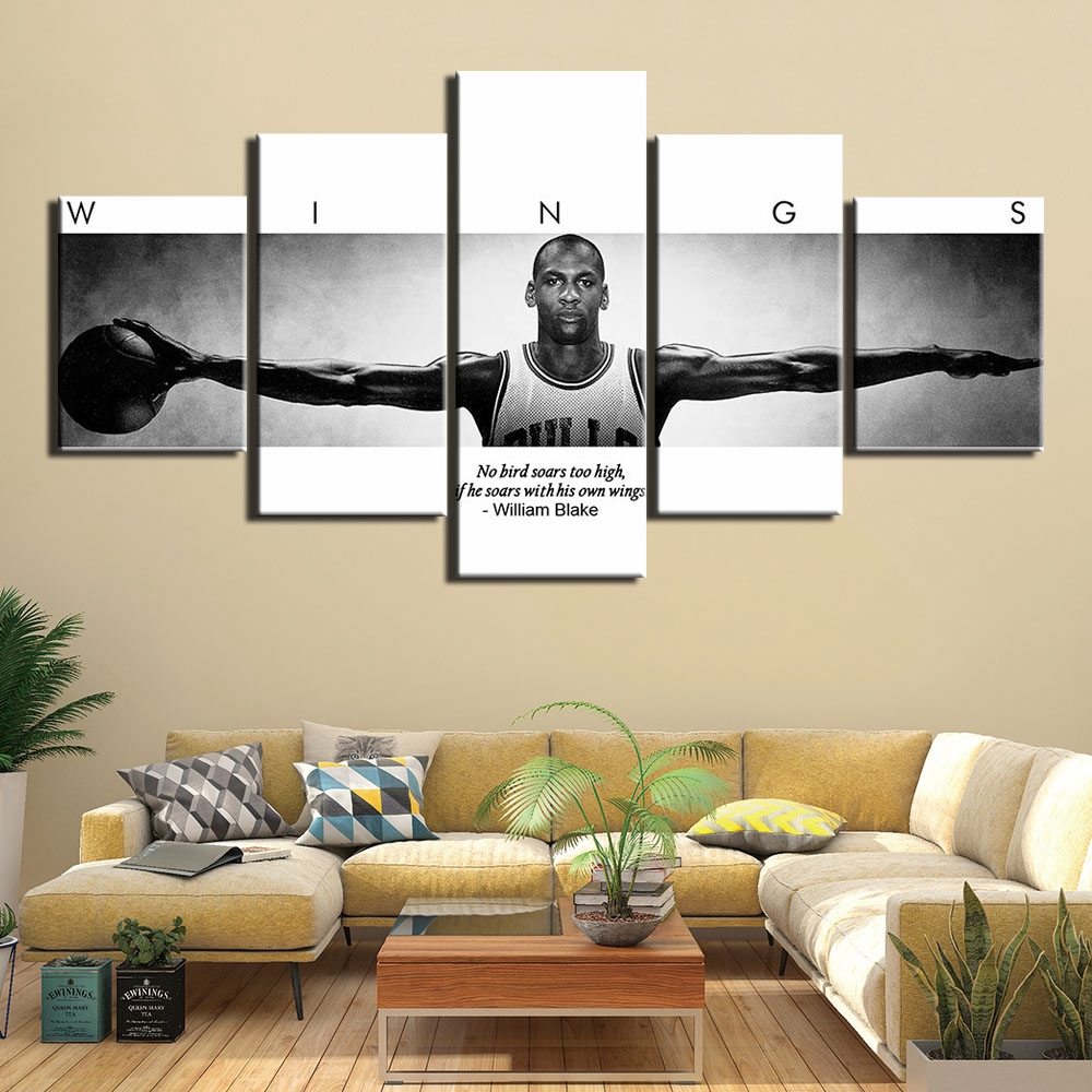 5 Basketball Player Michael Jordan Wings Inspirational Quotes Hd Canvas Painting Oil Painting Modern Wall Art Decoration Poster Mural Shopee Indonesia