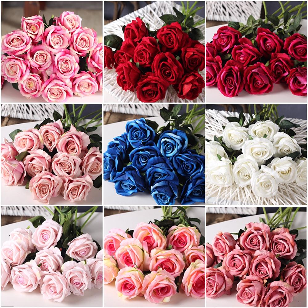 Buatan Naik Flanel Naik Bunga Palsu Dekorasi Rumah Vas Bunga Merangkai Bunga Palsu Bunga Shopee Indonesia