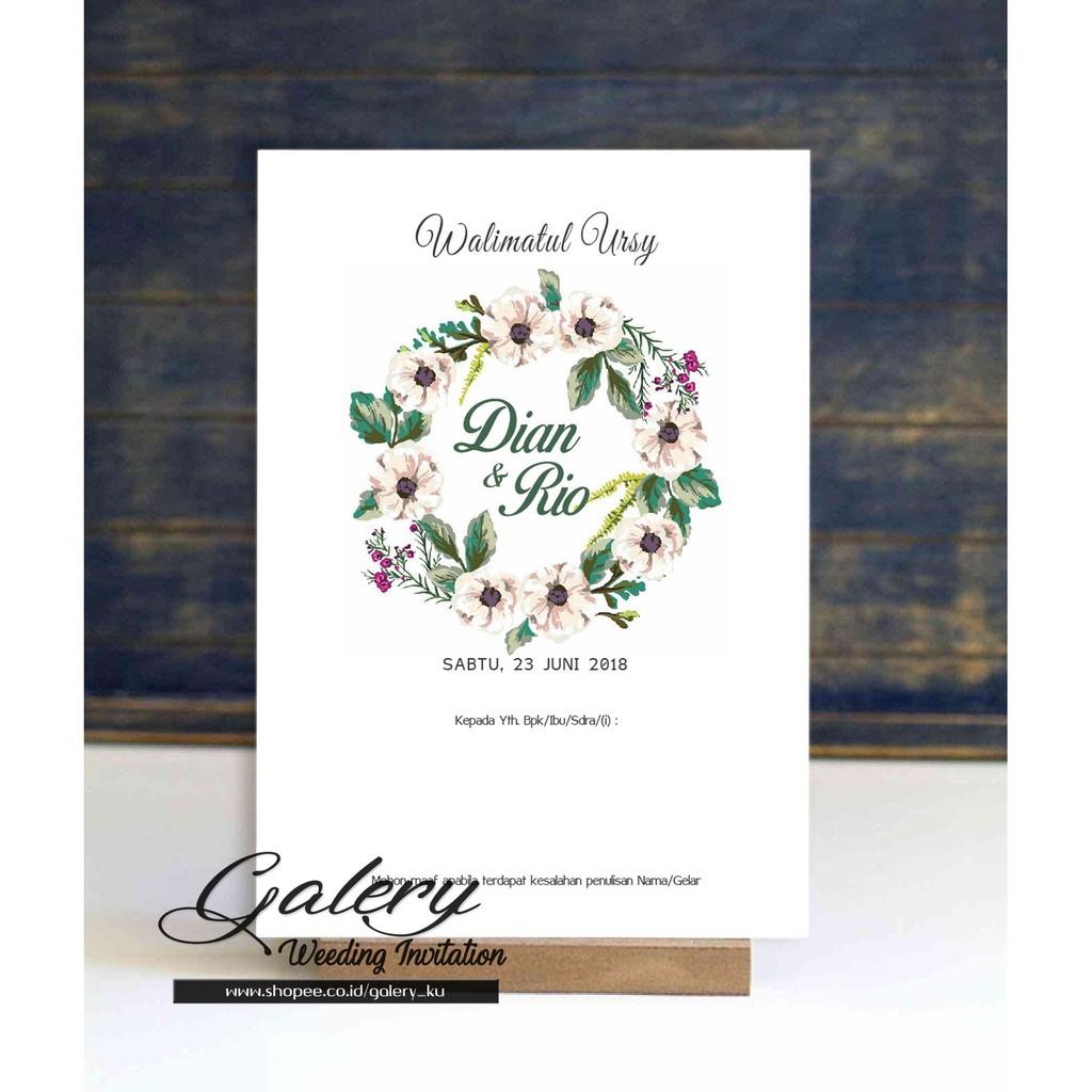 Kartu Undangan Pernikahan Motif Bunga Daun Hijau Simple Elegant