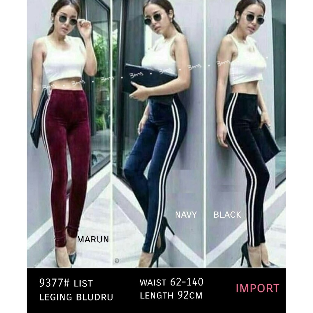 Celana Legging Bahan Bludru Import Fit To L Ada List Putih Shopee Indonesia