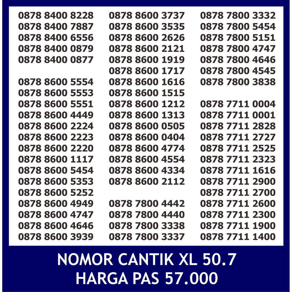Promo 50.6 Nomor Cantik XL Triple abab aabb XL Triple XL Kwartet XL abab - Nomer Cantik XL Triple   Shopee Indonesia