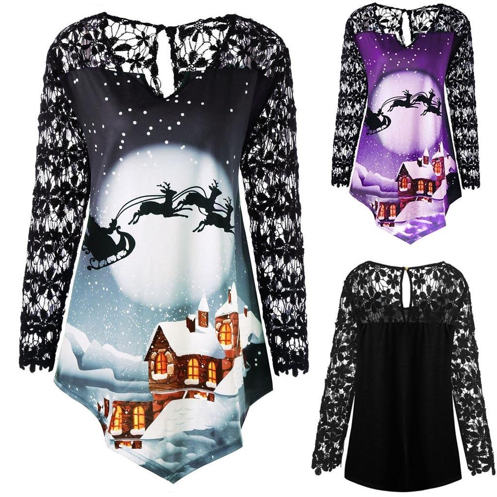 Plus Size Women Merry Christmas Printed Lace Patchwork Asymmetrical T-Shirt Tops Size S-5XL