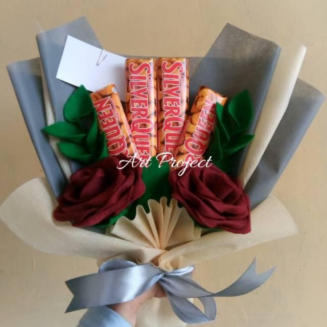 Buket Bunga Plus Coklat Silverqueen Shopee Indonesia