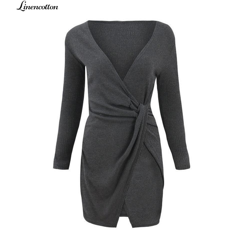 Linencotton Solid Color Deep V Long Sleeve Knotted Waist Slit Bodycon Dress