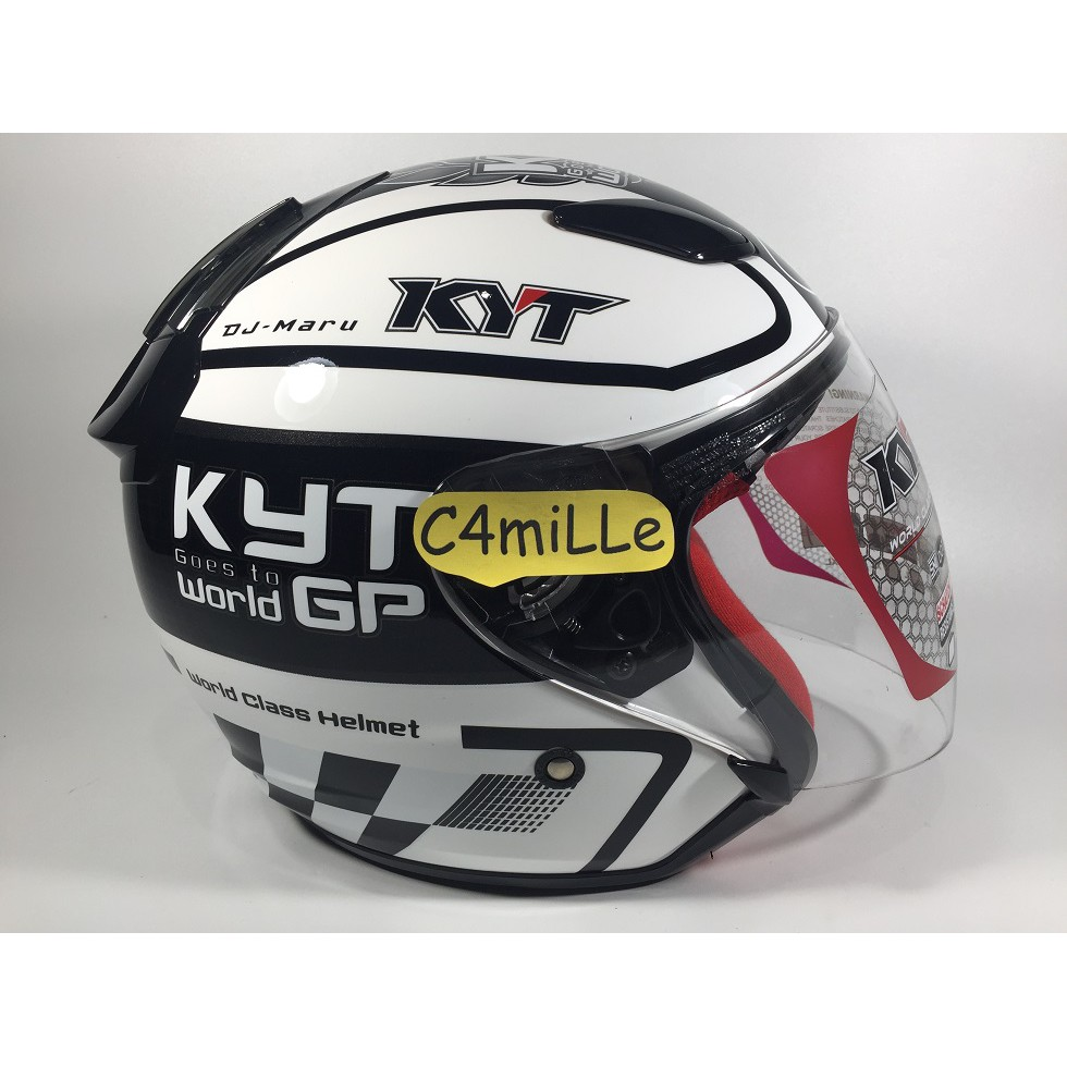 Helm Snail 310 White Motif Revo Blue Shopee Indonesia With Visor