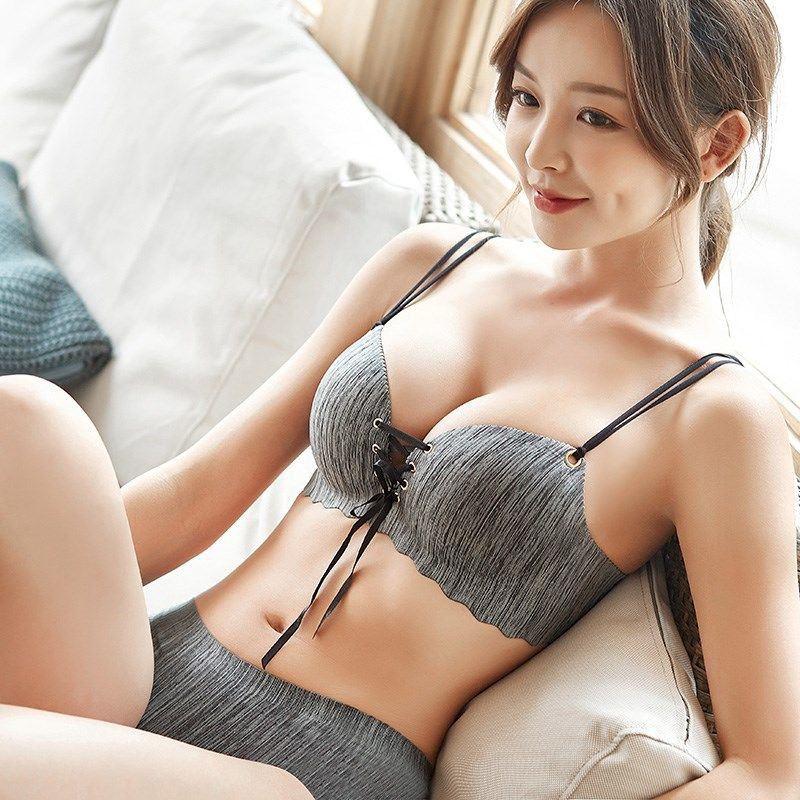 ❅❂Lingerie women gather no steel ring girl bra thin high School college  students Korean version set | Shopee Indonesia