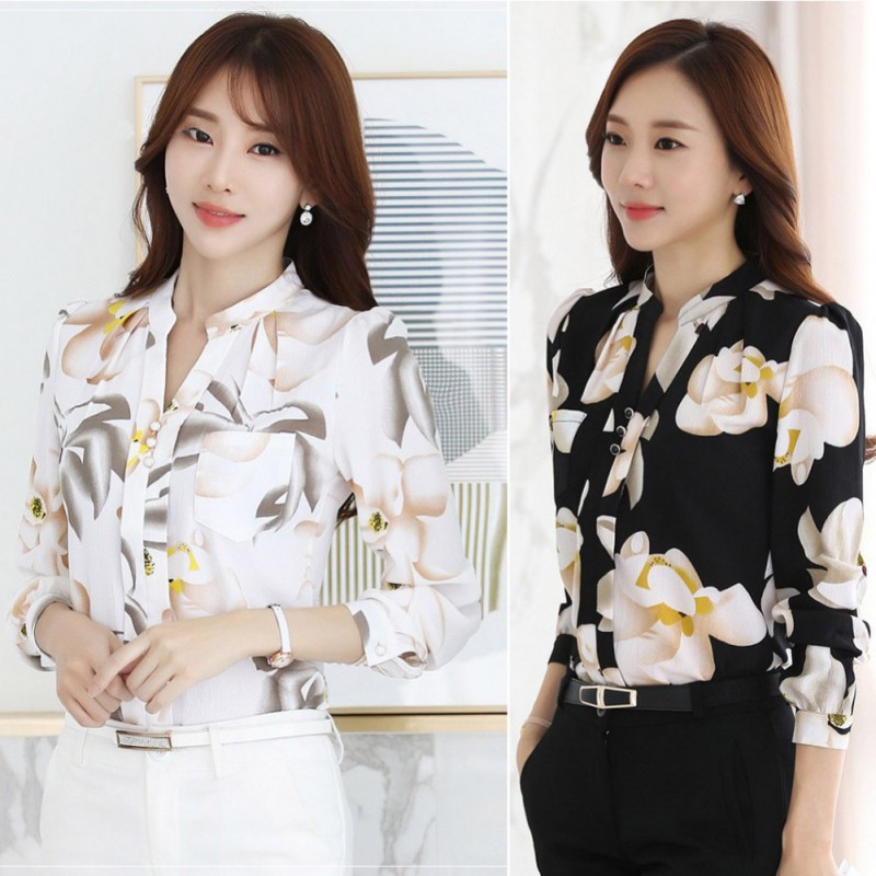 Baju atasan kemeja lengan panjang motif burung kerja kantor kuliah fashion  cewek wanita murah -7950  7c3e30e42e