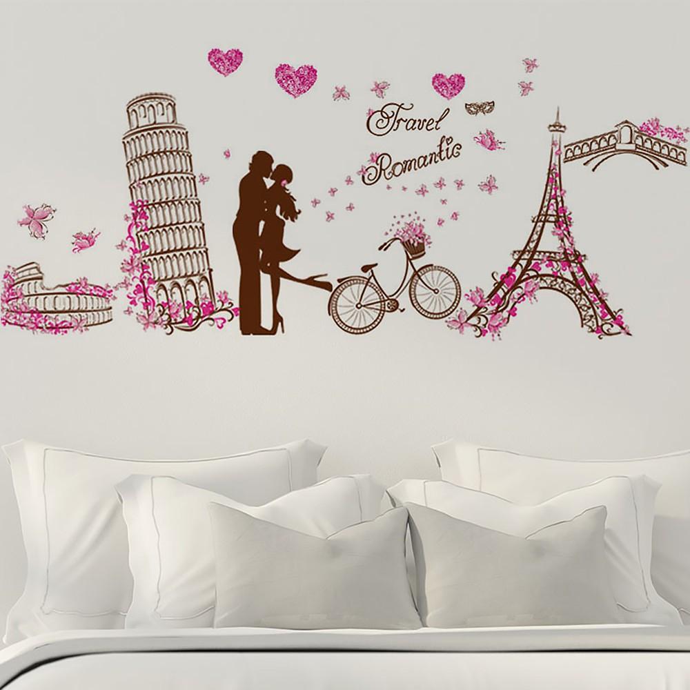 Stiker Dinding Dengan Bahan Mudah Dilepas Dan Gambar Menara Eiffel Ber A Elegan