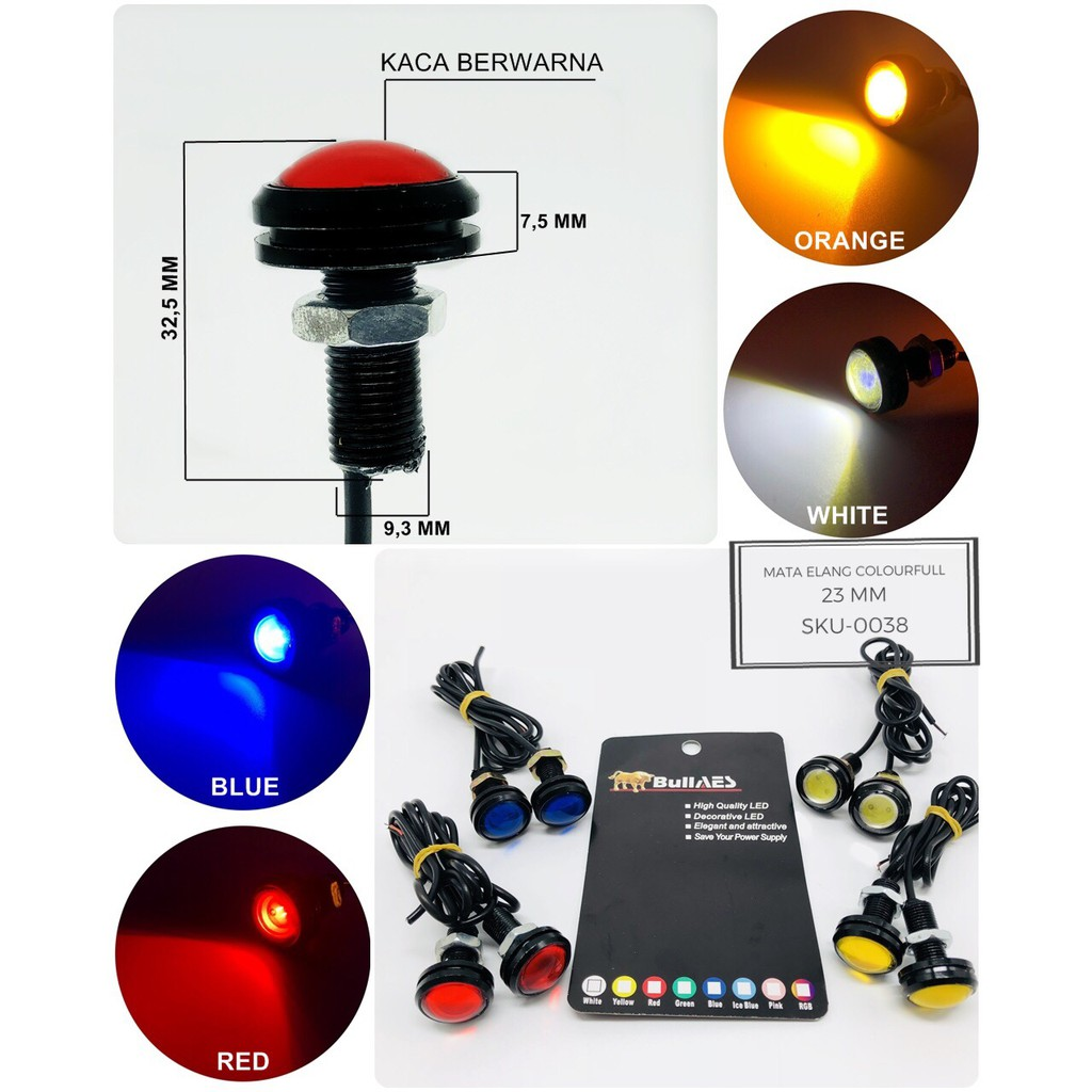 lampu led mata elang brecket | mata elang led | mata elang strobo 2 mode SEPASANG | Shopee Indonesia