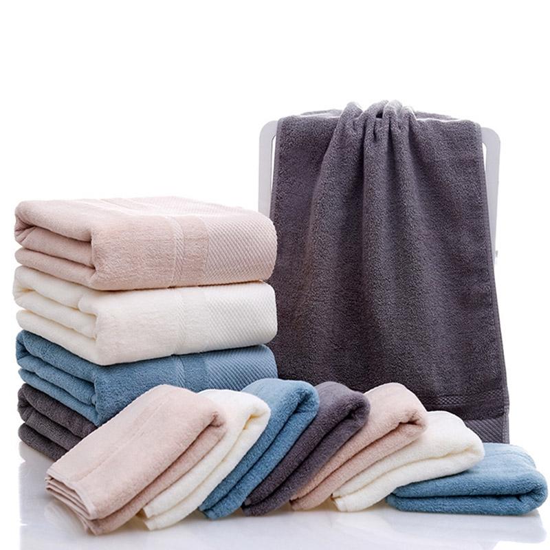 1pcs Pure color cotton towel adult large absorbent bath towel 70x140cm